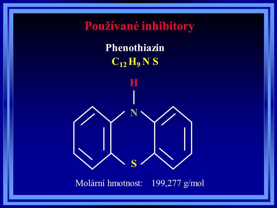 Používané inhibitory Phenothiazin C 12 H 9 N S Bod tání: 184°C Bod varu: 235°C (2,7 kPa) Rozpustnost ve vodě: nerozpustný Rozpustnost ve vodě: 0,0041 g/litr (20°C) Rozpustnost ve vodě: 0,021 g/litr (90°C) Rozpustnost - kyselina akrylová: 2 % hmot.