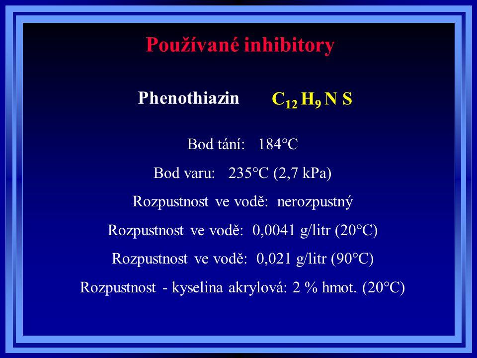 Teploty při skladování a přepravě kyseliny akrylové a esterů kyseliny akrylové LátkaTeplota skladování Maximální skladovací teplota Jednotka Kyselina akrylová15 – 2530°C Methylakrylát5 – 1035°C Ethylakrylát5 – 1035°C n-Butylakrylát10 – 2035°C 2-Ethylhexylakrylát10 – 2035°C