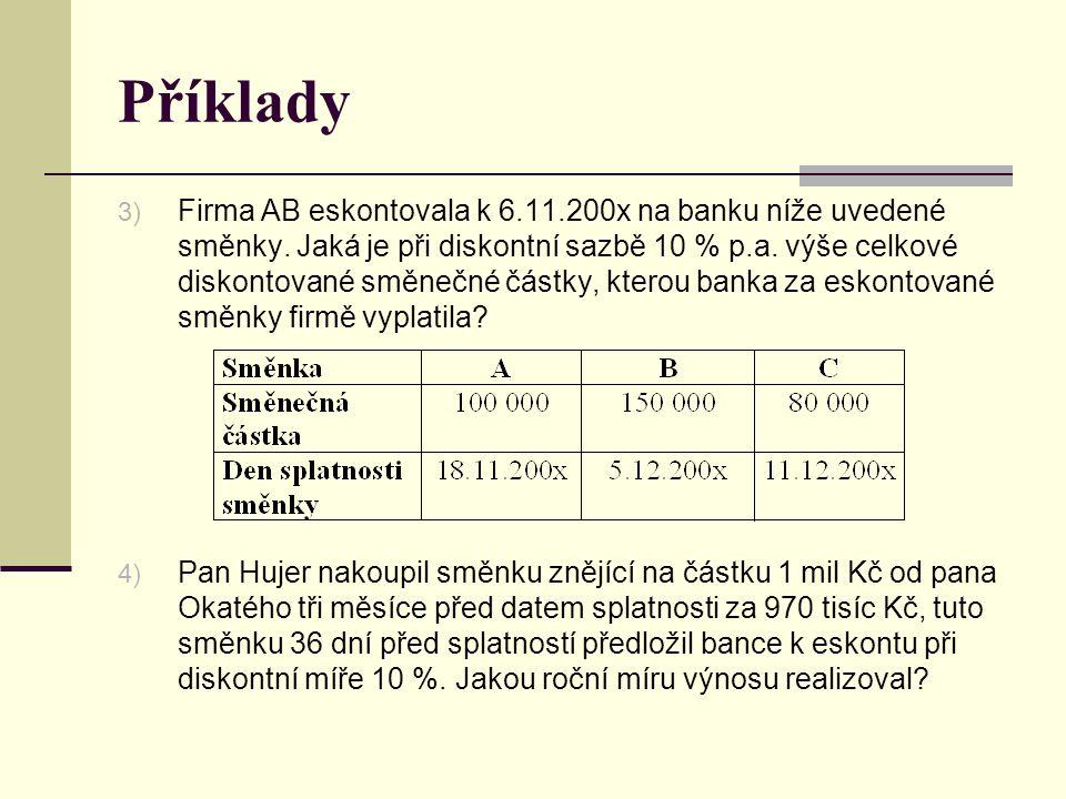 Příklady 3) Firma AB eskontovala k 6.11.200x na banku níže uvedené směnky. Jaká je při diskontní sazbě 10 % p.a. výše celkové diskontované směnečné čá