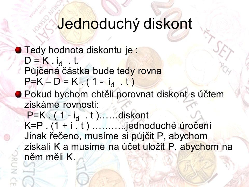 Jednoduchý diskont Tedy hodnota diskontu je : D = K.