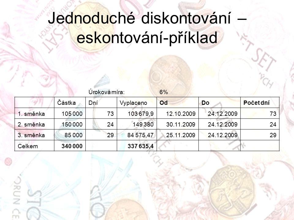 Jednoduché diskontování – eskontování-příklad Úroková míra:6% ČástkaDníVyplacenoOdDoPočet dní 1. směnka105 00073103 679,912.10.200924.12.200973 2. smě