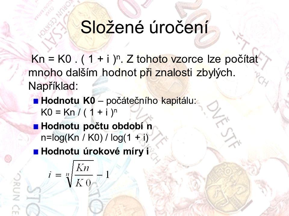 Složené úročení Kn = K0.( 1 + i ) n.