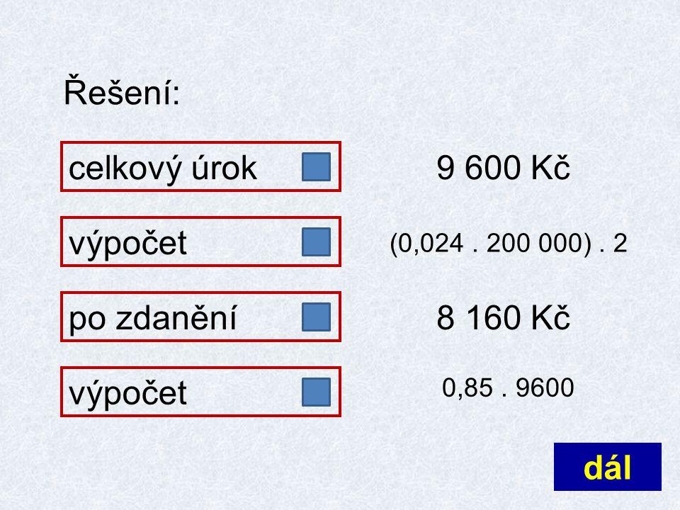 Řešení: celkový úrokpo zdanění 9 600 Kč výpočet (0,024. 200 000). 2 8 160 Kč 0,85. 9600 dál