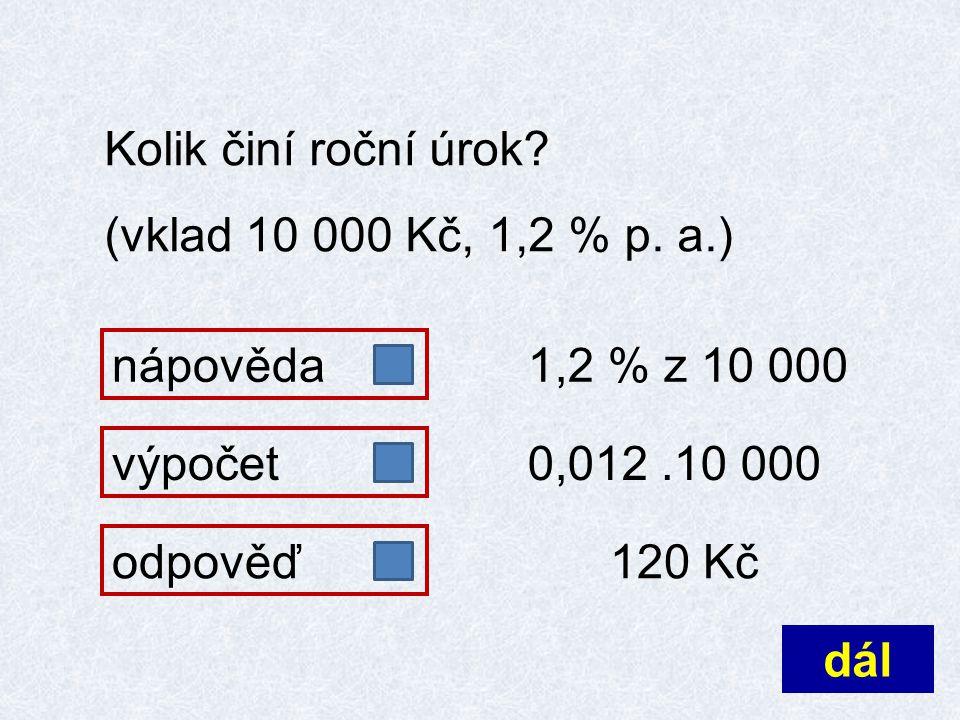Kolik činí roční úrok. (vklad 10 000 Kč, 1,2 % p.