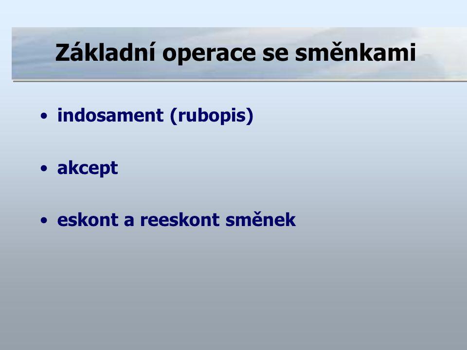 Základní operace se směnkami indosament (rubopis) akcept eskont a reeskont směnek