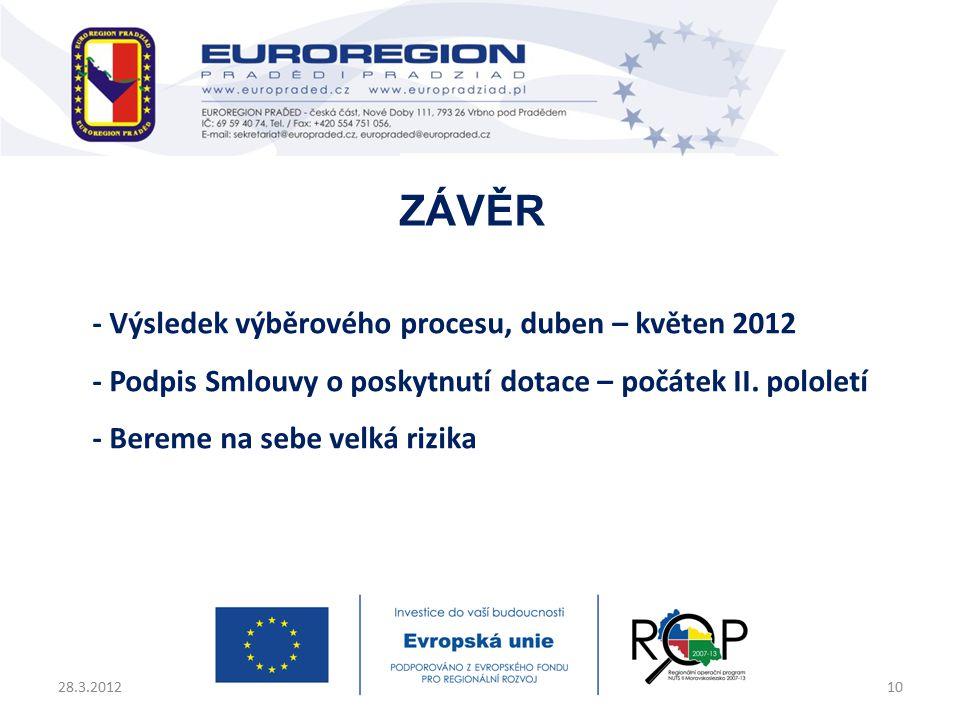 - Výsledek výběrového procesu, duben – květen 2012 - Podpis Smlouvy o poskytnutí dotace – počátek II.