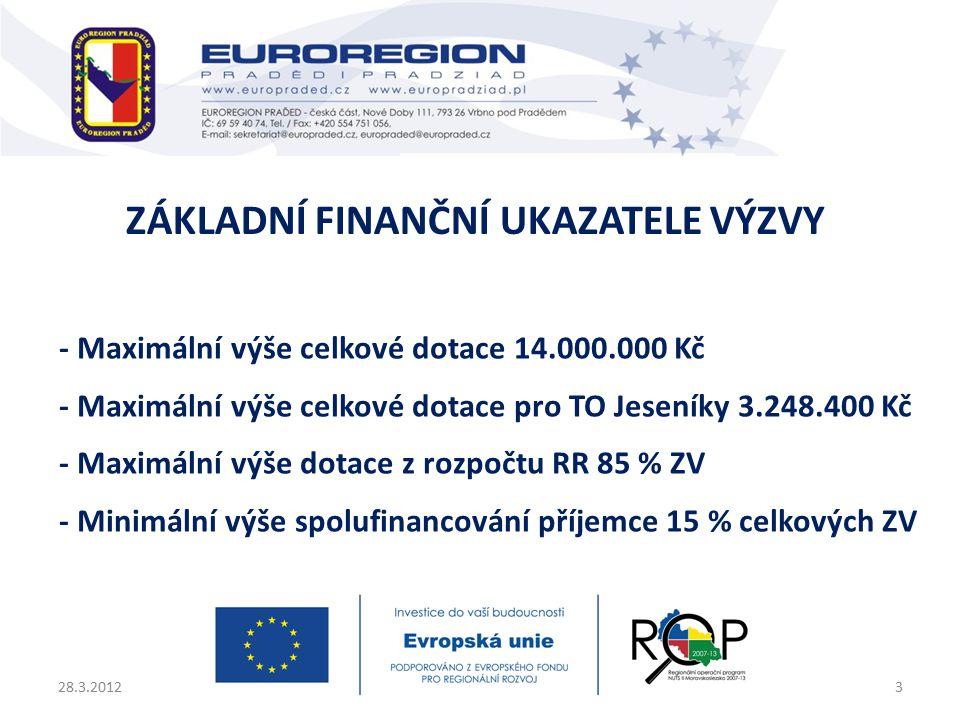 - Maximální výše celkové dotace 14.000.000 Kč - Maximální výše celkové dotace pro TO Jeseníky 3.248.400 Kč - Maximální výše dotace z rozpočtu RR 85 % ZV - Minimální výše spolufinancování příjemce 15 % celkových ZV 28.3.20123 ZÁKLADNÍ FINANČNÍ UKAZATELE VÝZVY