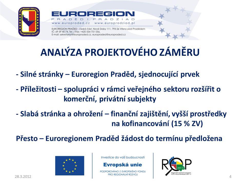 - Silné stránky – Euroregion Praděd, sjednocující prvek - Příležitosti – spolupráci v rámci veřejného sektoru rozšířit o komerční, privátní subjekty - Slabá stránka a ohrožení – finanční zajištění, vyšší prostředky na kofinancování (15 % ZV) Přesto – Euroregionem Praděd žádost do termínu předložena 28.3.20124 ANALÝZA PROJEKTOVÉHO ZÁMĚRU