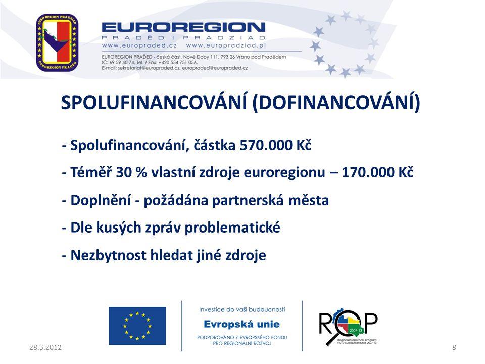 - Spolufinancování, částka 570.000 Kč - Téměř 30 % vlastní zdroje euroregionu – 170.000 Kč - Doplnění - požádána partnerská města - Dle kusých zpráv problematické - Nezbytnost hledat jiné zdroje 28.3.20128 SPOLUFINANCOVÁNÍ (DOFINANCOVÁNÍ)