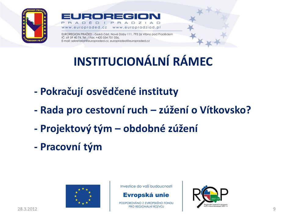 - Pokračují osvědčené instituty - Rada pro cestovní ruch – zúžení o Vítkovsko.