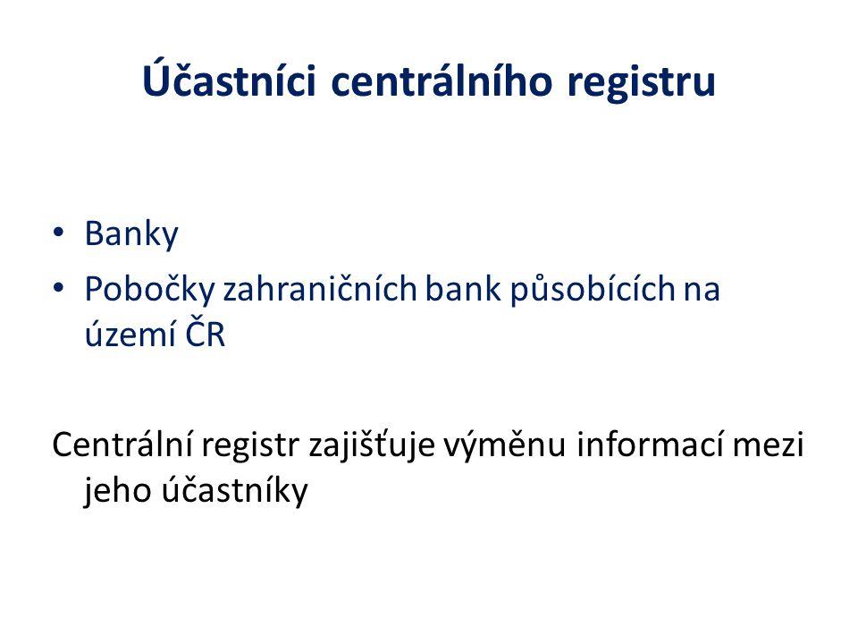 Účastníci centrálního registru Banky Pobočky zahraničních bank působících na území ČR Centrální registr zajišťuje výměnu informací mezi jeho účastníky