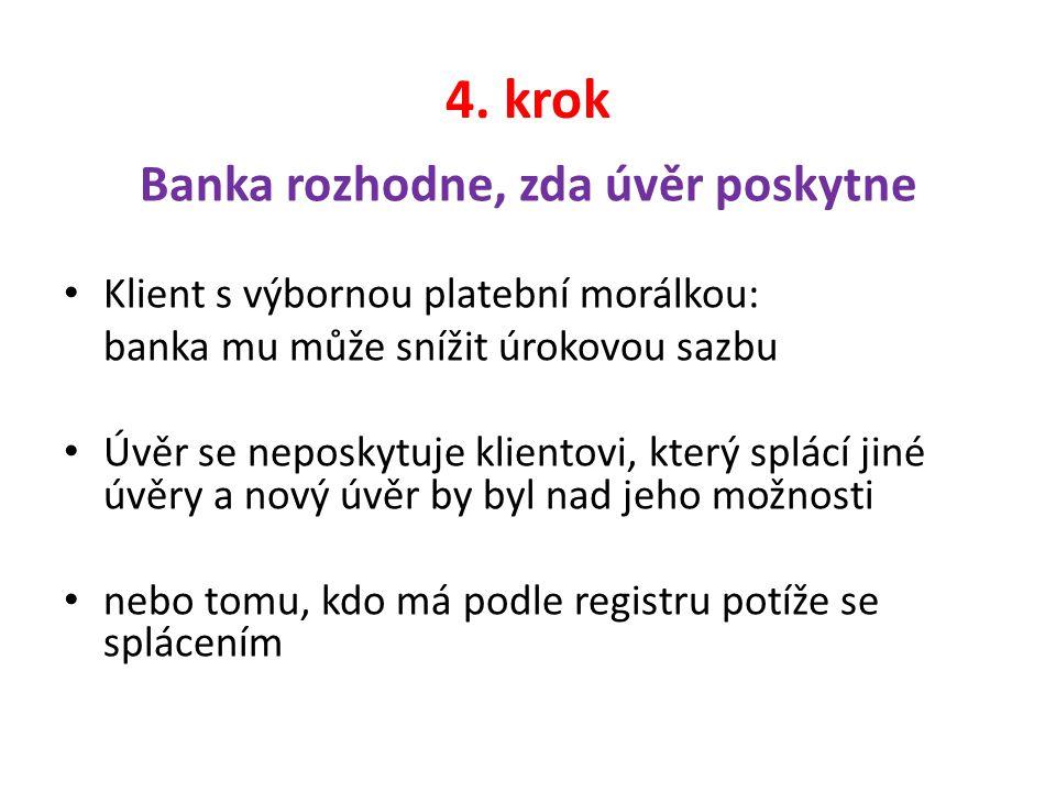 4. krok Banka rozhodne, zda úvěr poskytne Klient s výbornou platební morálkou: banka mu může snížit úrokovou sazbu Úvěr se neposkytuje klientovi, kter