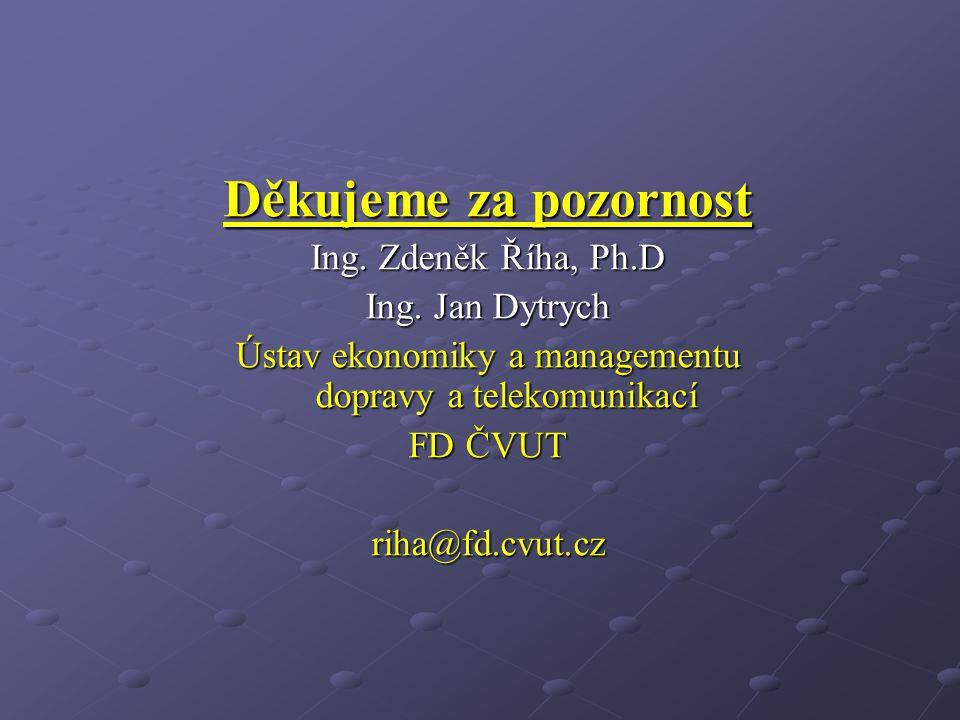 Děkujeme za pozornost Ing. Zdeněk Říha, Ph.D Ing. Jan Dytrych Ústav ekonomiky a managementu dopravy a telekomunikací FD ČVUT riha@fd.cvut.cz
