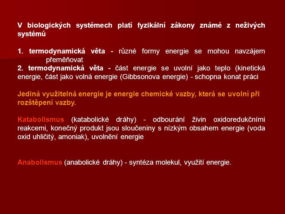 V biologických systémech platí fyzikální zákony známé z neživých systémů 1. termodynamická věta - různé formy energie se mohou navzájem přeměňovat 2.
