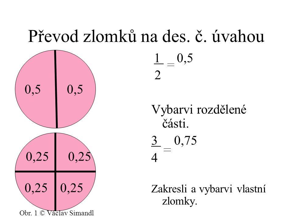 Převod zlomků na des.č. úvahou 1 0,5 2 Vybarvi rozdělené části.