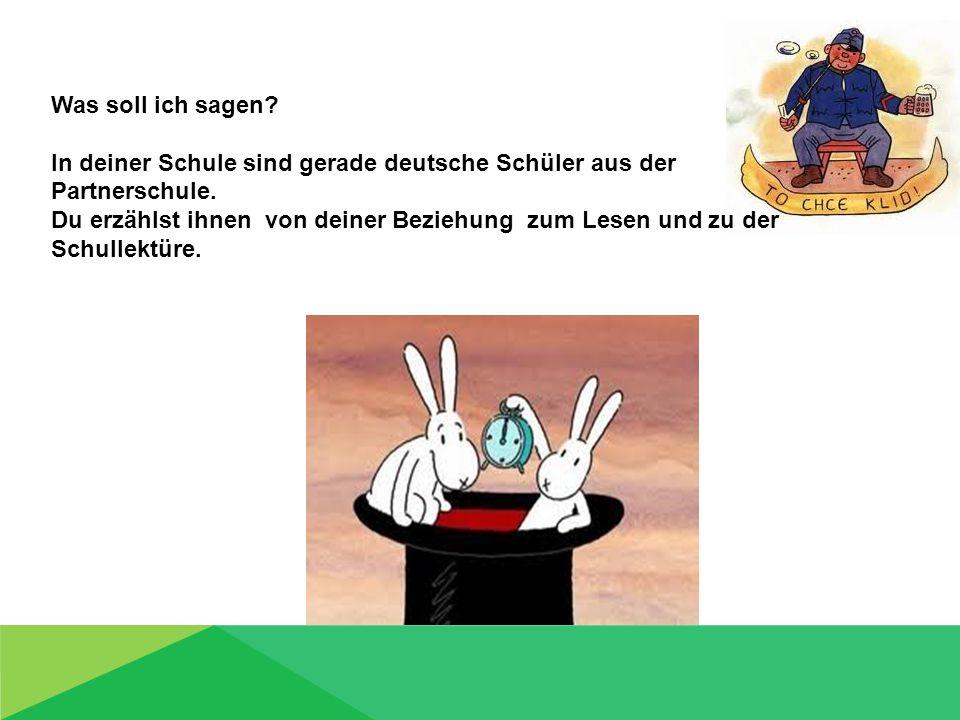Was soll ich sagen? In deiner Schule sind gerade deutsche Schüler aus der Partnerschule. Du erzählst ihnen von deiner Beziehung zum Lesen und zu der S