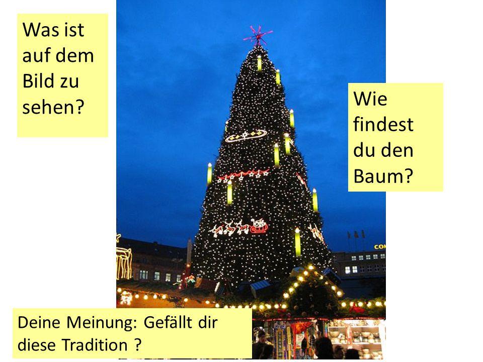 Was ist auf dem Bild zu sehen? Wie findest du den Baum? Deine Meinung: Gefällt dir diese Tradition ?