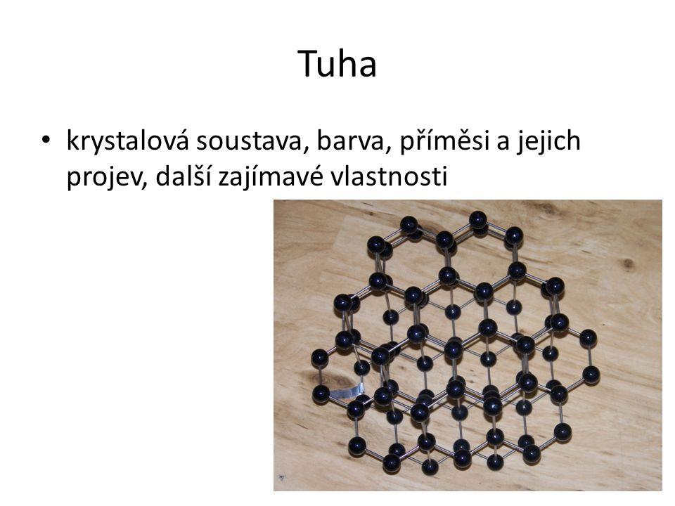 Tuha krystalová soustava, barva, příměsi a jejich projev, další zajímavé vlastnosti