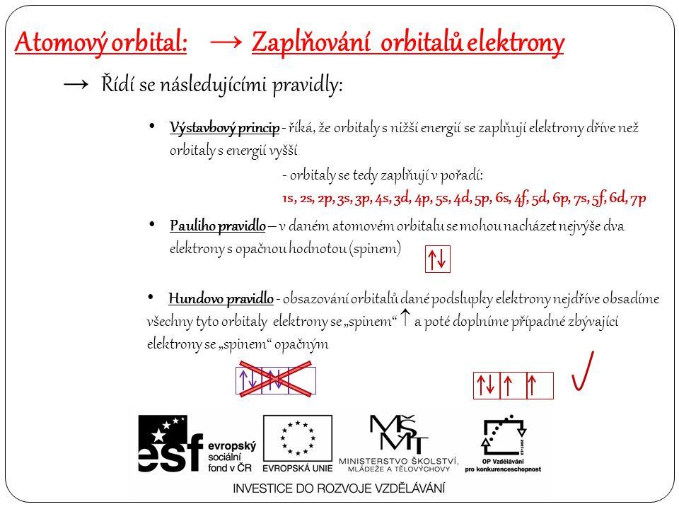 Atomový orbital: → Zaplňování orbitalů elektrony → Řídí se následujícími pravidly: Výstavbový princip - říká, že orbitaly s nižší energií se zaplňují