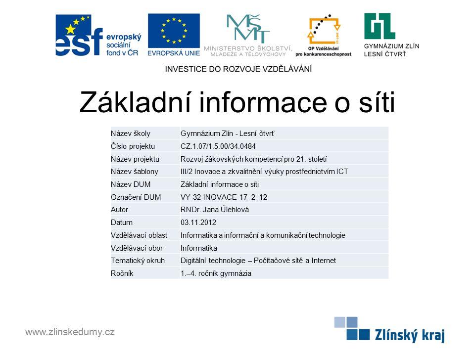 Základní informace o síti www.zlinskedumy.cz Název školyGymnázium Zlín - Lesní čtvrť Číslo projektuCZ.1.07/1.5.00/34.0484 Název projektuRozvoj žákovských kompetencí pro 21.