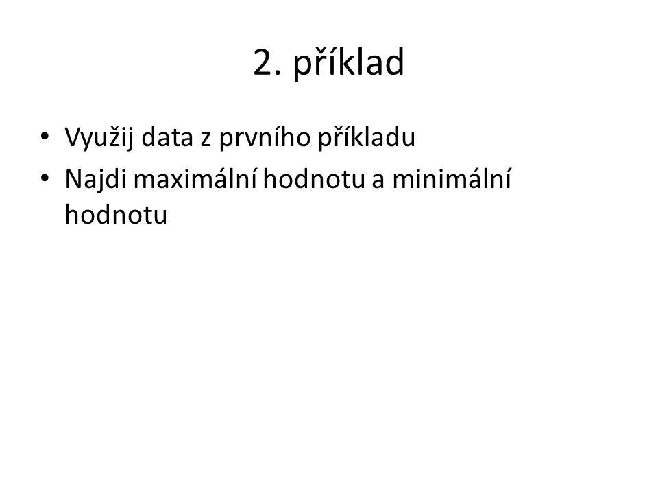 2. příklad Využij data z prvního příkladu Najdi maximální hodnotu a minimální hodnotu