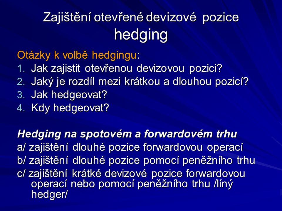 Zajištění otevřené devizové pozice hedging Otázky k volbě hedgingu: 1. Jak zajistit otevřenou devizovou pozici? 2. Jaký je rozdíl mezi krátkou a dlouh