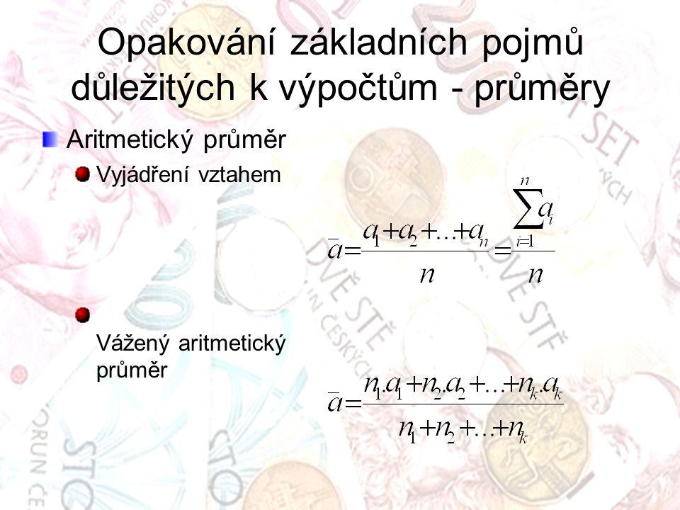 Opakování základních pojmů důležitých k výpočtům - průměry Aritmetický průměr Vyjádření vztahem Vážený aritmetický průměr