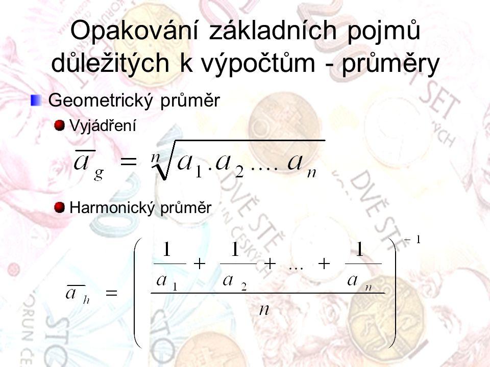 Opakování základních pojmů důležitých k výpočtům - průměry Geometrický průměr Vyjádření Harmonický průměr