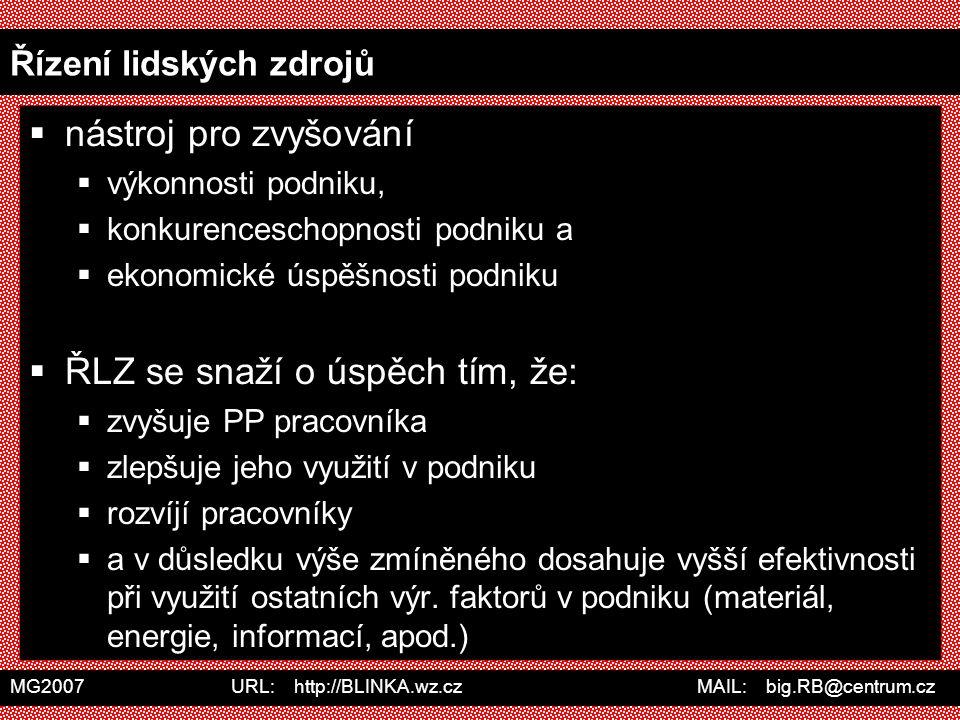 MG2007 URL: http://BLINKA.wz.cz MAIL: big.RB@centrum.cz Řízení lidských zdrojů  nástroj pro zvyšování  výkonnosti podniku,  konkurenceschopnosti po