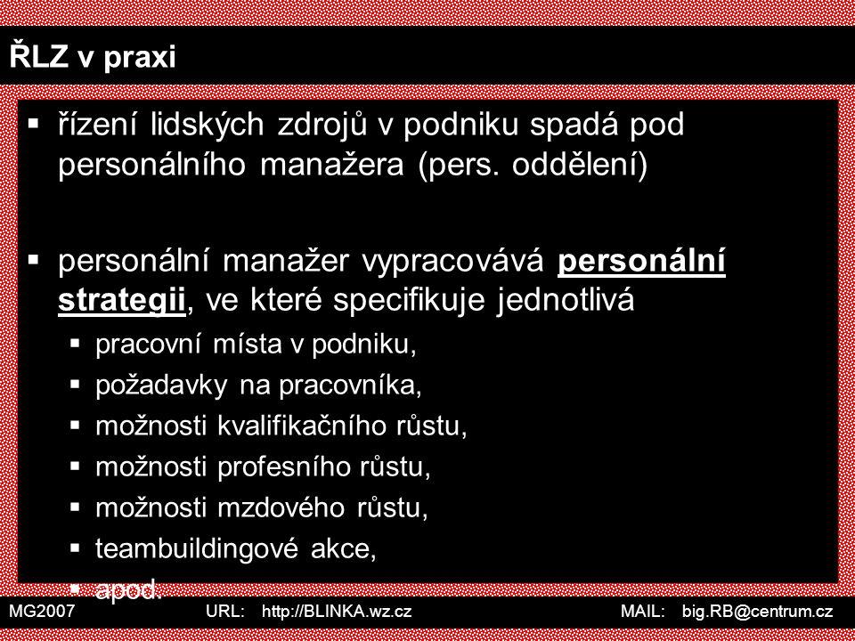 MG2007 URL: http://BLINKA.wz.cz MAIL: big.RB@centrum.cz ŘLZ v praxi  řízení lidských zdrojů v podniku spadá pod personálního manažera (pers. oddělení