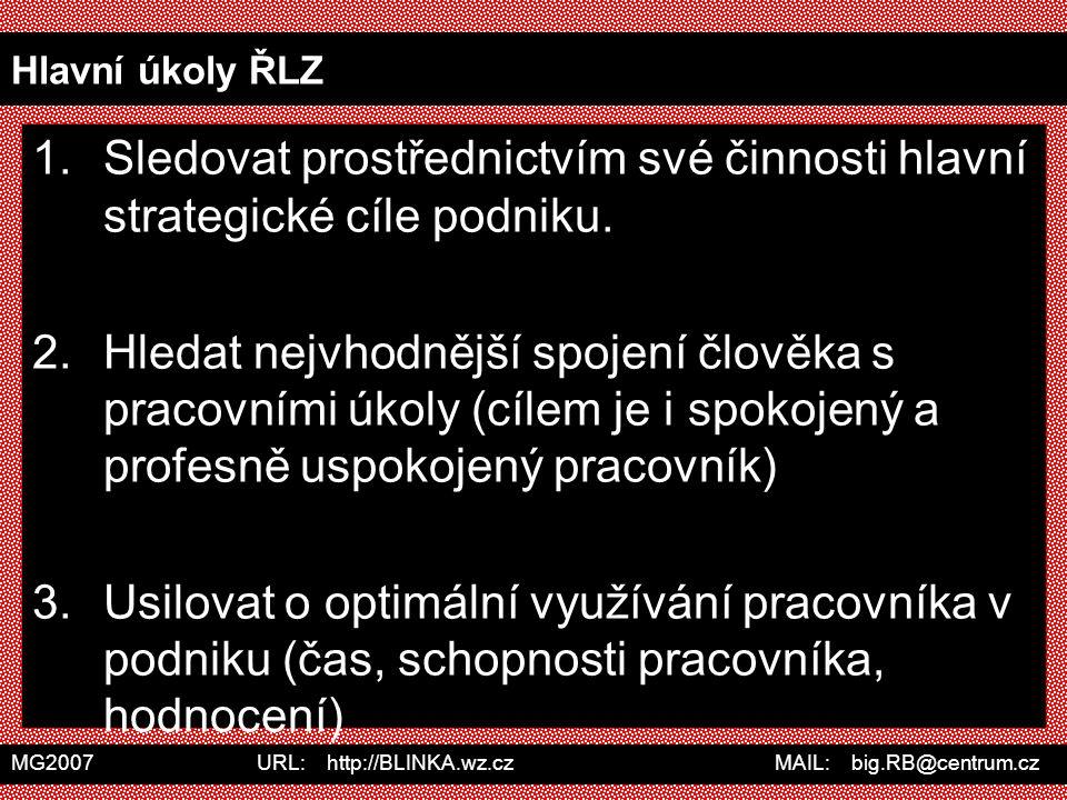 MG2007 URL: http://BLINKA.wz.cz MAIL: big.RB@centrum.cz Hlavní úkoly ŘLZ 1.Sledovat prostřednictvím své činnosti hlavní strategické cíle podniku. 2.Hl