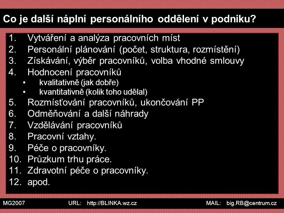 MG2007 URL: http://BLINKA.wz.cz MAIL: big.RB@centrum.cz Co je další náplní personálního oddělení v podniku? 1.Vytváření a analýza pracovních míst 2.Pe