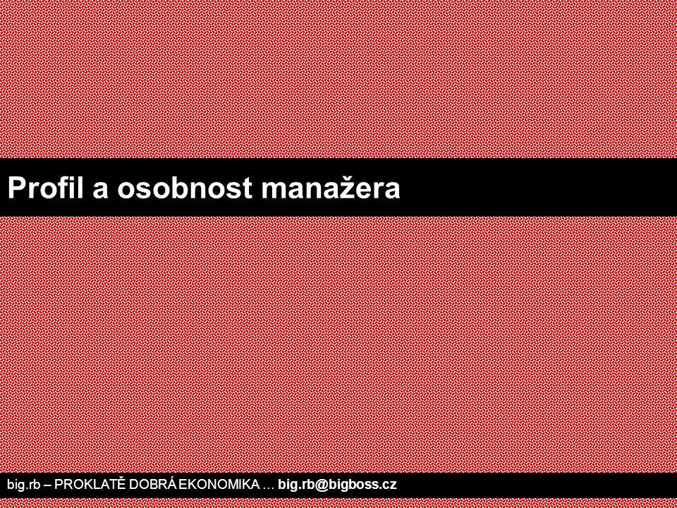 big.rb – PROKLATĚ DOBRÁ EKONOMIKA … big.rb@bigboss.cz Profil a osobnost manažera