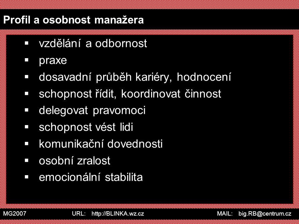 MG2007 URL: http://BLINKA.wz.cz MAIL: big.RB@centrum.cz Profil a osobnost manažera  vzdělání a odbornost  praxe  dosavadní průběh kariéry, hodnocen