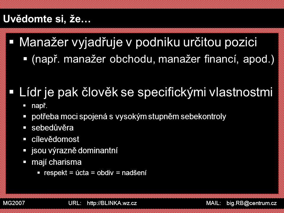 MG2007 URL: http://BLINKA.wz.cz MAIL: big.RB@centrum.cz Uvědomte si, že…  Manažer vyjadřuje v podniku určitou pozici  (např. manažer obchodu, manaže