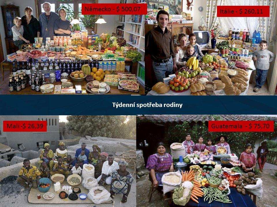 Dlouhověkost Německo - $ 500,07 Itálie - $ 260,11 Mali -$ 26,39Guatemala - $ 75,70 Týdenní spotřeba rodiny