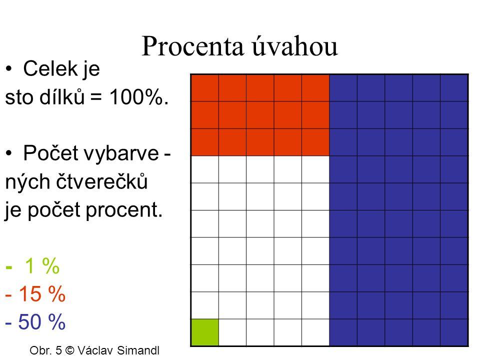 Procenta úvahou Celek je sto dílků = 100%. Počet vybarve - ných čtverečků je počet procent.