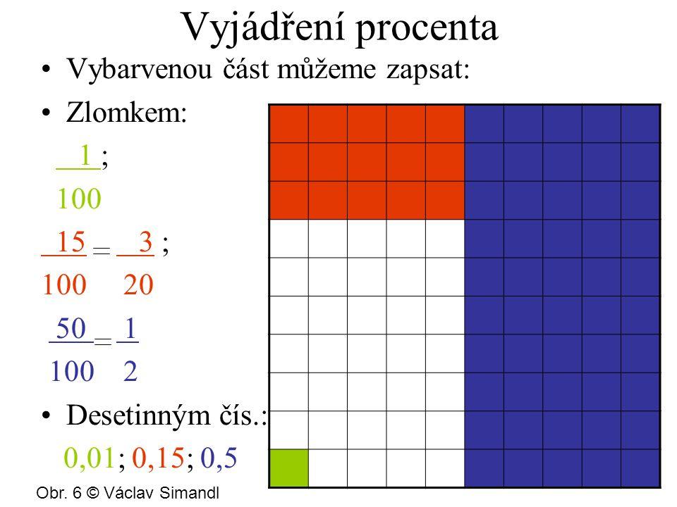 Vyjádření procenta Vybarvenou část můžeme zapsat: Zlomkem: 1 ; 100 15 3 ; 100 20 50 1 100 2 Desetinným čís.: 0,01; 0,15; 0,5 Obr.