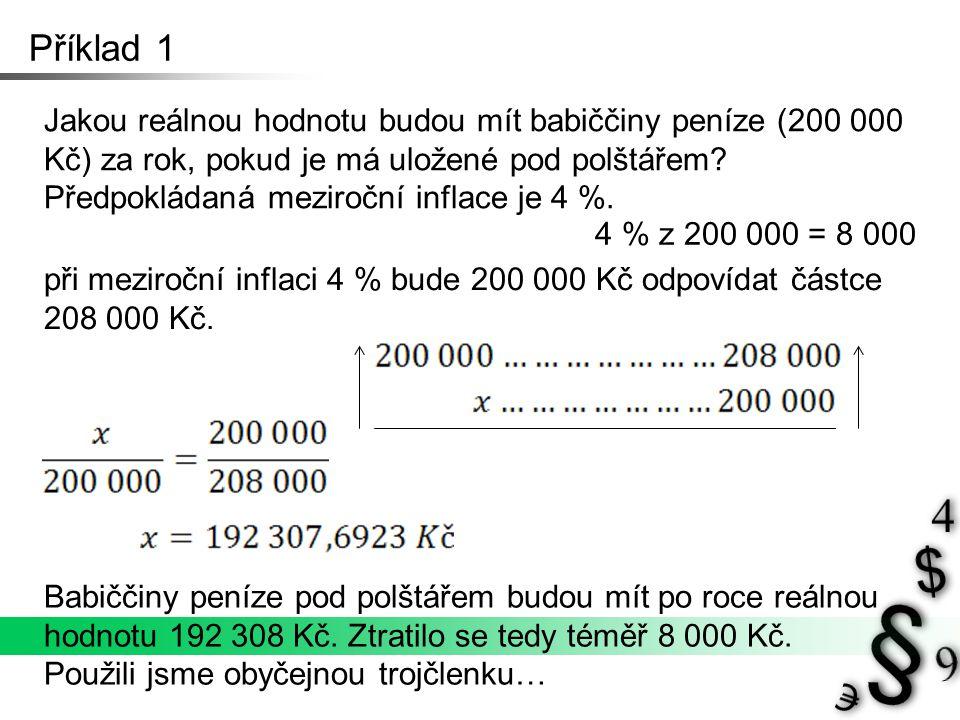 Příklad 1 Jakou reálnou hodnotu budou mít babiččiny peníze (200 000 Kč) za rok, pokud je má uložené pod polštářem.