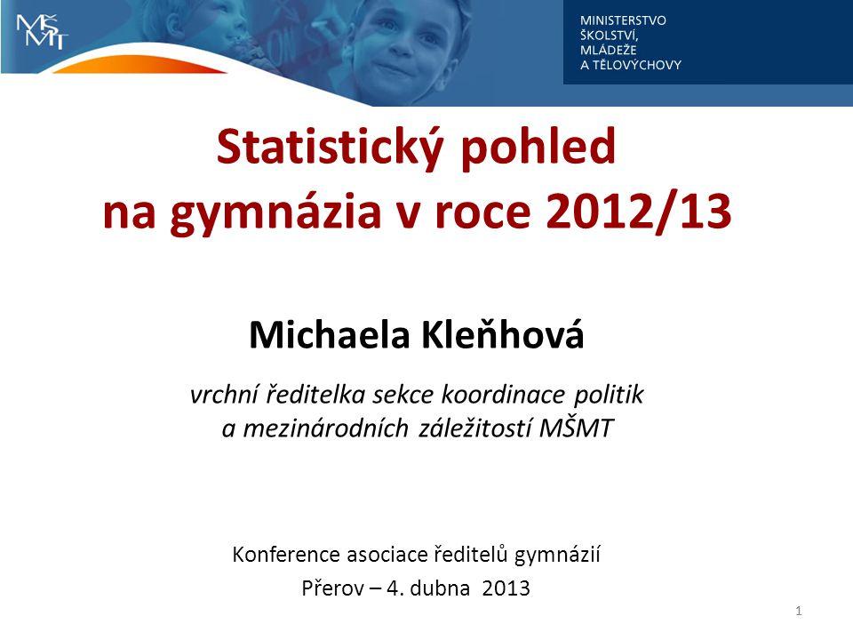 Statistický pohled na gymnázia v roce 2012/13 Michaela Kleňhová vrchní ředitelka sekce koordinace politik a mezinárodních záležitostí MŠMT Konference asociace ředitelů gymnázií Přerov – 4.