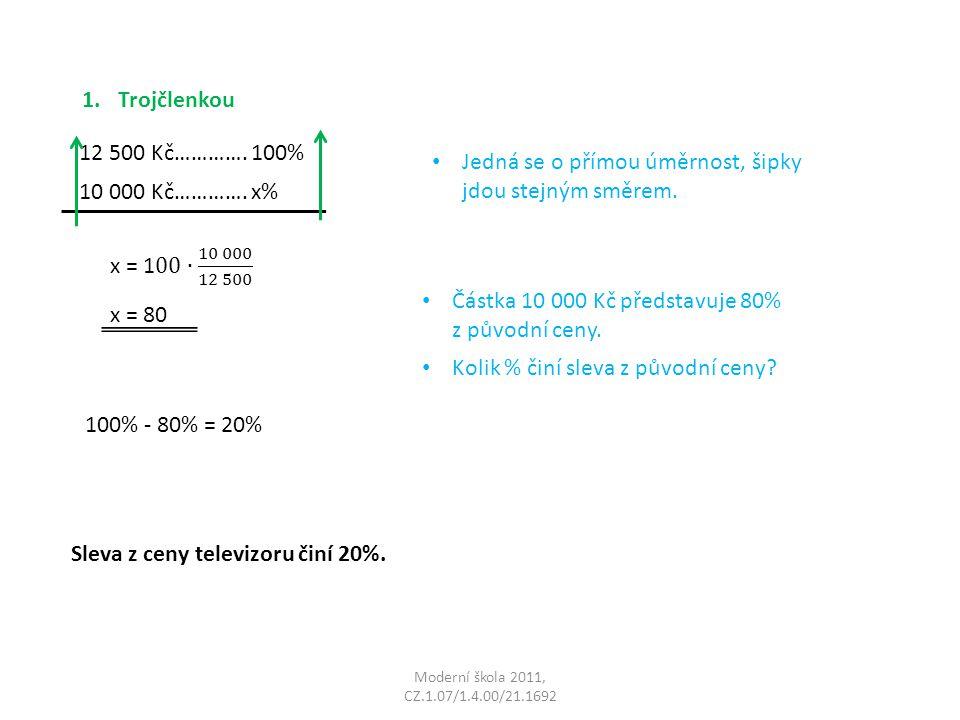 Moderní škola 2011, CZ.1.07/1.4.00/21.1692 1.Trojčlenkou 12 500 Kč…………. 100% 10 000 Kč…………. x% Jedná se o přímou úměrnost, šipky jdou stejným směrem.