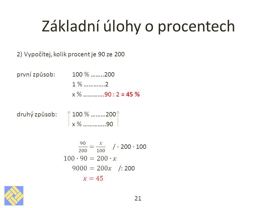 Základní úlohy o procentech 21