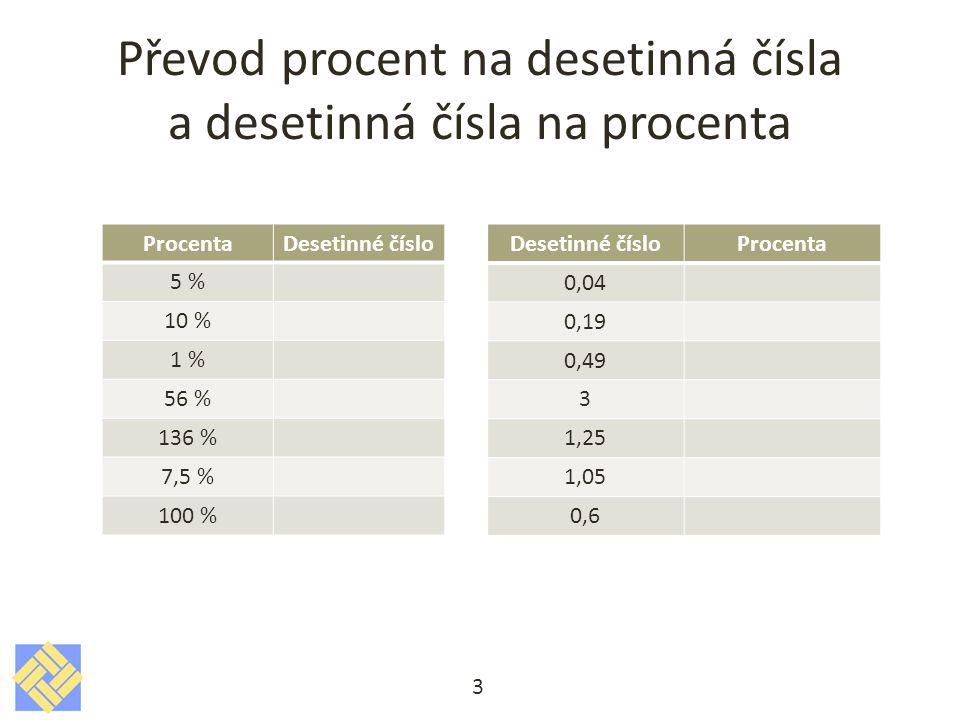 Převod procent na desetinná čísla a desetinná čísla na procenta 3 ProcentaDesetinné číslo 5 % 10 % 1 % 56 % 136 % 7,5 % 100 % Desetinné čísloProcenta 0,04 0,19 0,49 3 1,25 1,05 0,6