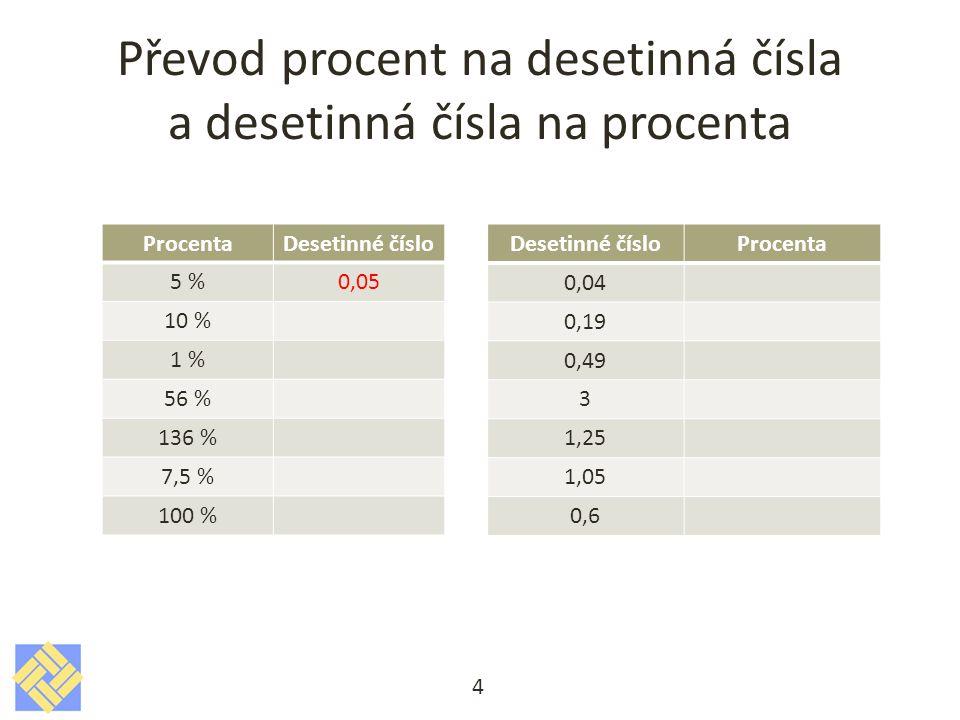 Převod procent na desetinná čísla a desetinná čísla na procenta 4 ProcentaDesetinné číslo 5 %0,05 10 % 1 % 56 % 136 % 7,5 % 100 % Desetinné čísloProcenta 0,04 0,19 0,49 3 1,25 1,05 0,6