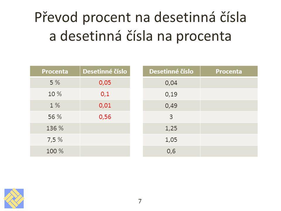 Převod procent na desetinná čísla a desetinná čísla na procenta 7 ProcentaDesetinné číslo 5 %0,05 10 %0,1 1 %0,01 56 %0,56 136 % 7,5 % 100 % Desetinné čísloProcenta 0,04 0,19 0,49 3 1,25 1,05 0,6