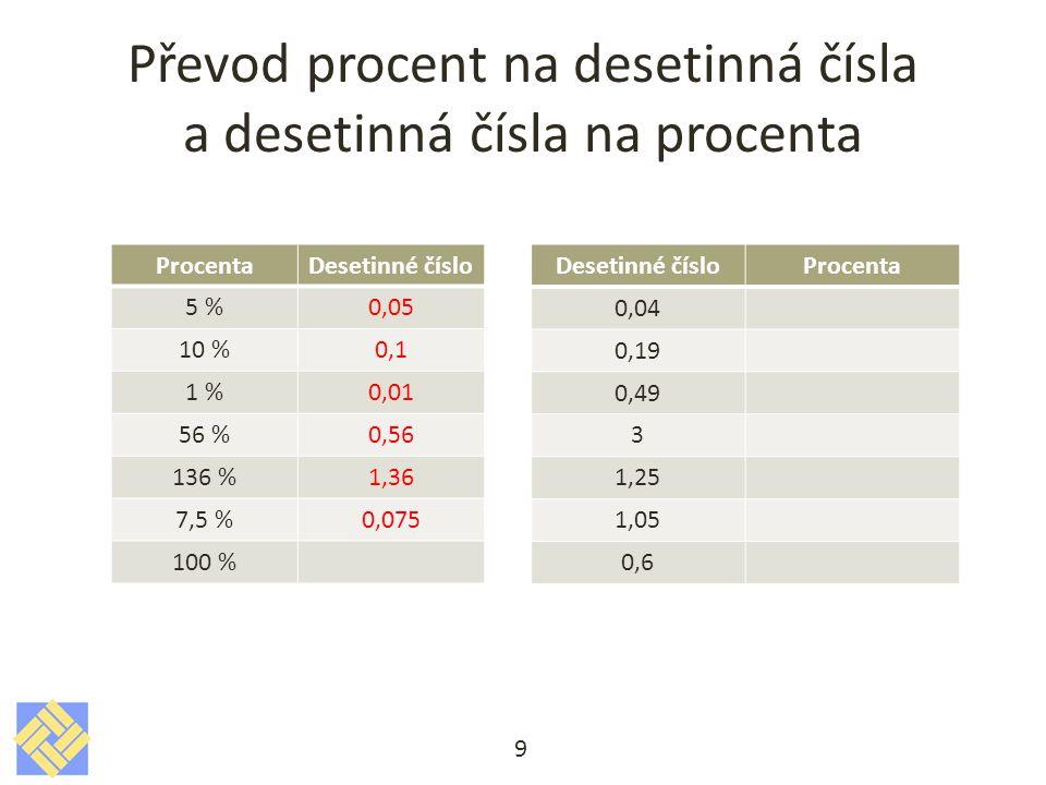 Převod procent na desetinná čísla a desetinná čísla na procenta 9 ProcentaDesetinné číslo 5 %0,05 10 %0,1 1 %0,01 56 %0,56 136 %1,36 7,5 %0,075 100 % Desetinné čísloProcenta 0,04 0,19 0,49 3 1,25 1,05 0,6