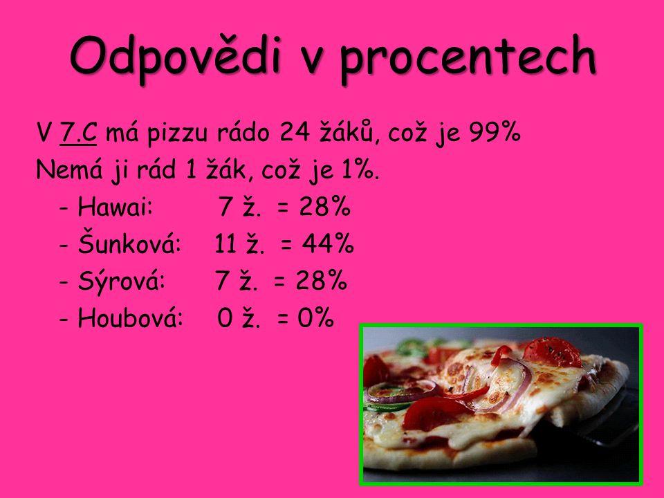 Odpovědi v procentech V 7.C má pizzu rádo 24 žáků, což je 99% Nemá ji rád 1 žák, což je 1%. - Hawai: 7 ž. = 28% - Šunková: 11 ž. = 44% - Sýrová: 7 ž.