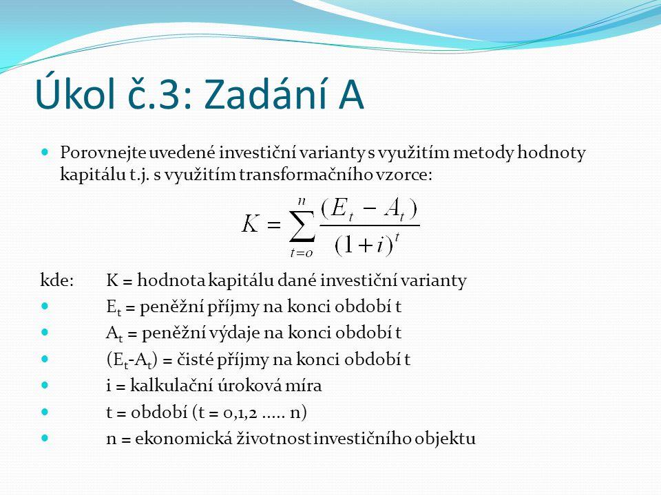 Úkol č.3: Zadání A Porovnejte uvedené investiční varianty s využitím metody hodnoty kapitálu t.j. s využitím transformačního vzorce: kde:K = hodnota k