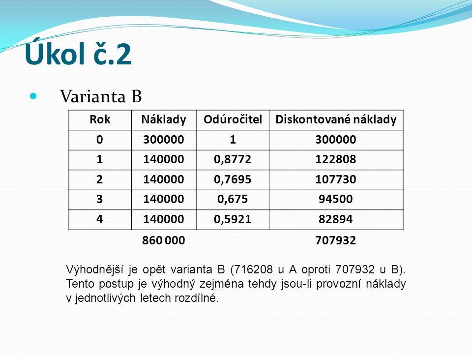 Úkol č.2 Varianta B Výhodnější je opět varianta B (716208 u A oproti 707932 u B). Tento postup je výhodný zejména tehdy jsou-li provozní náklady v jed