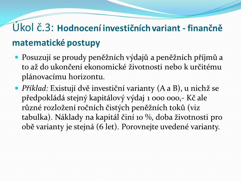 Úkol č.3: Hodnocení investičních variant - finančně matematické postupy Posuzují se proudy peněžních výdajů a peněžních příjmů a to až do ukončení eko